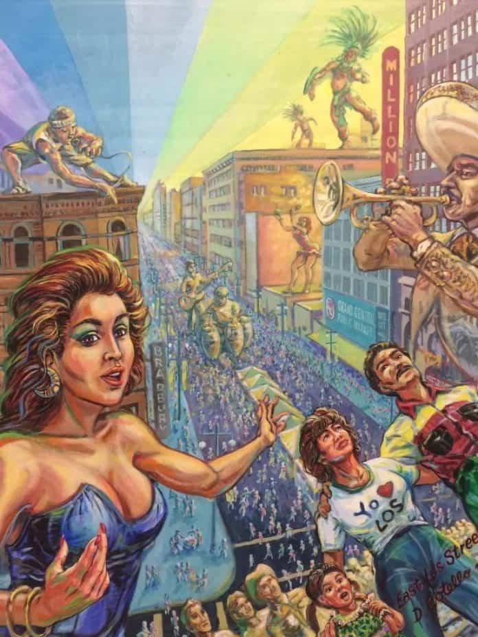Arte chicano en MOLAA: 'LA Fiesta Broadway', de Wayne Healy y David Botello.